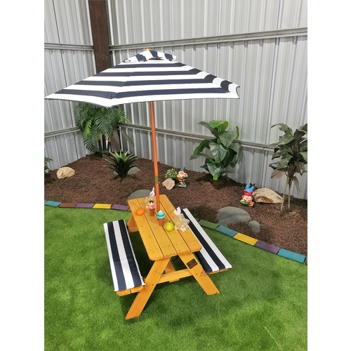 Kids Picnic Table with Umbrella & Cushions [Colour: Blue & White]